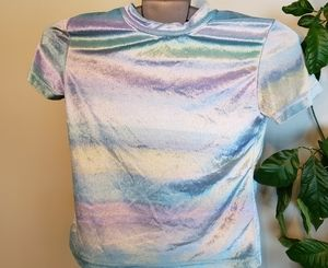Clearance!! Vintage cropped velour rainbow tshirt